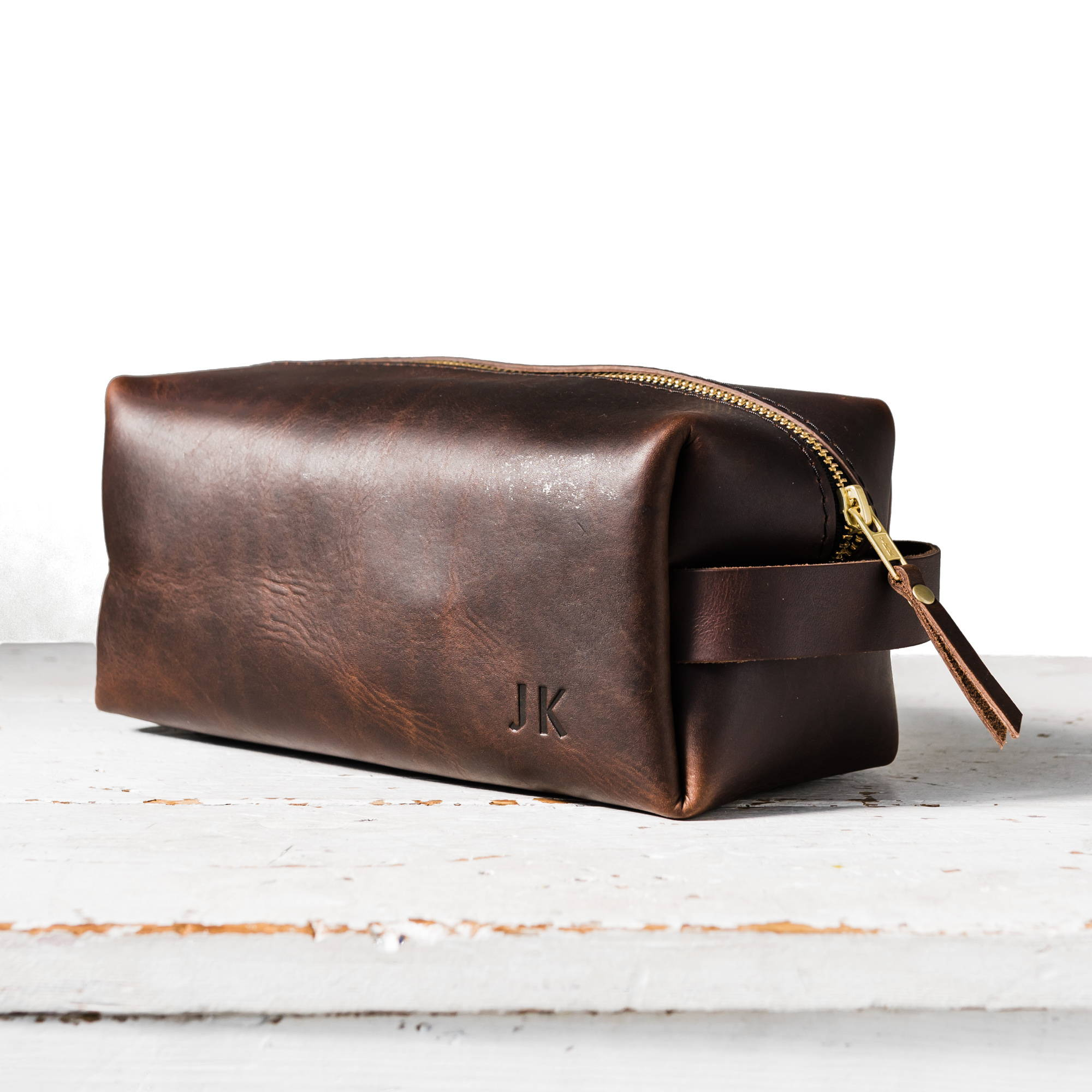 grizzly handmade leather dopp kit by portland leather goods