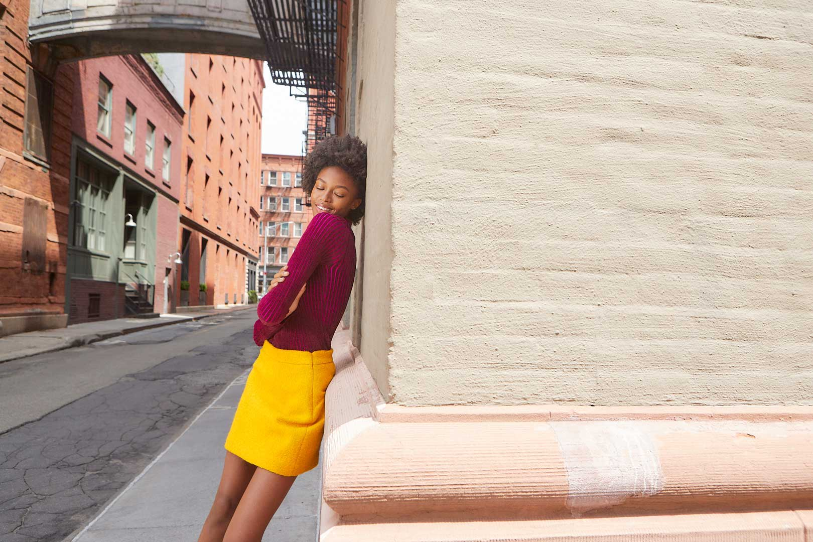 Velvet Corduroy Pullover and Wool Boucle Modern Mini Skirt