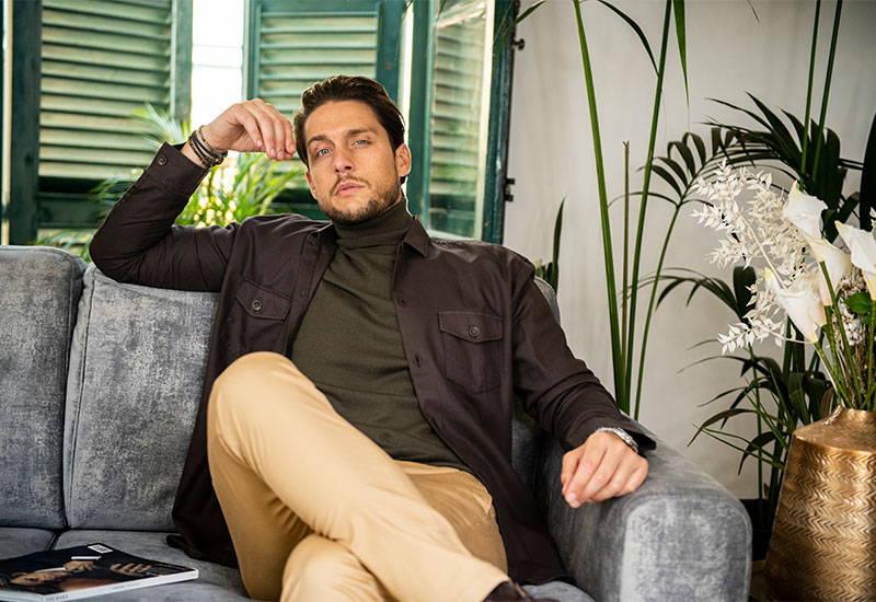 Man wearing Gagliardi Brown Tencel Blend Overshirt