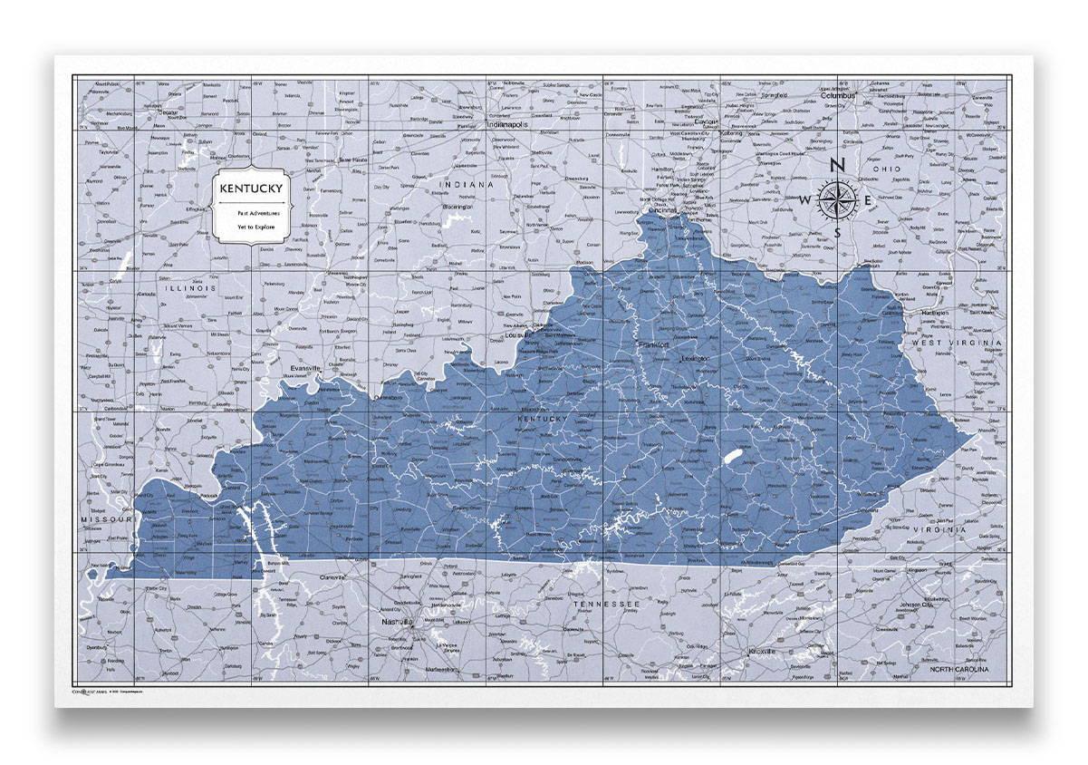 Kentucky Push pin travel map color splash