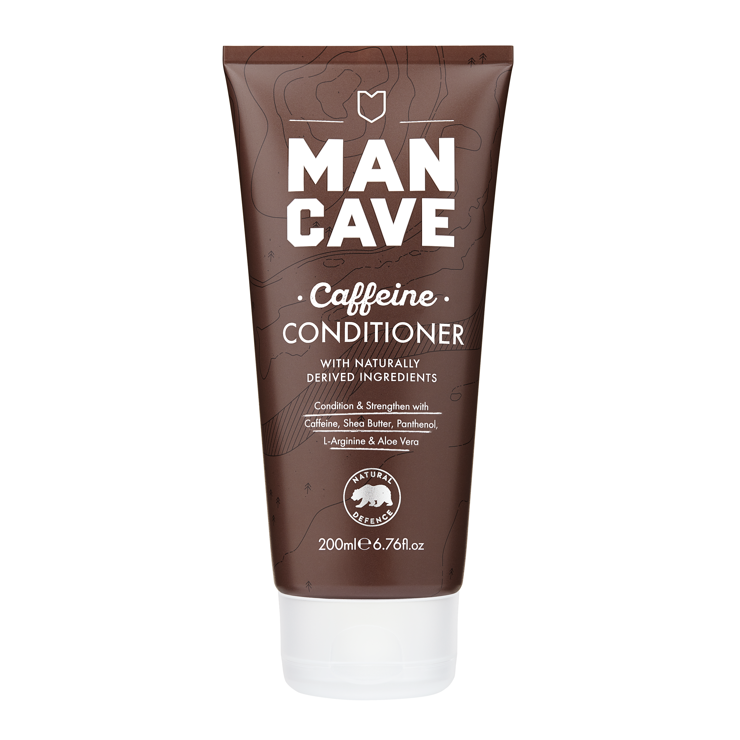 The ManCave caffeine conditioner  100% recyclable brown tube. Cruelty free certified and vegan friendly.
