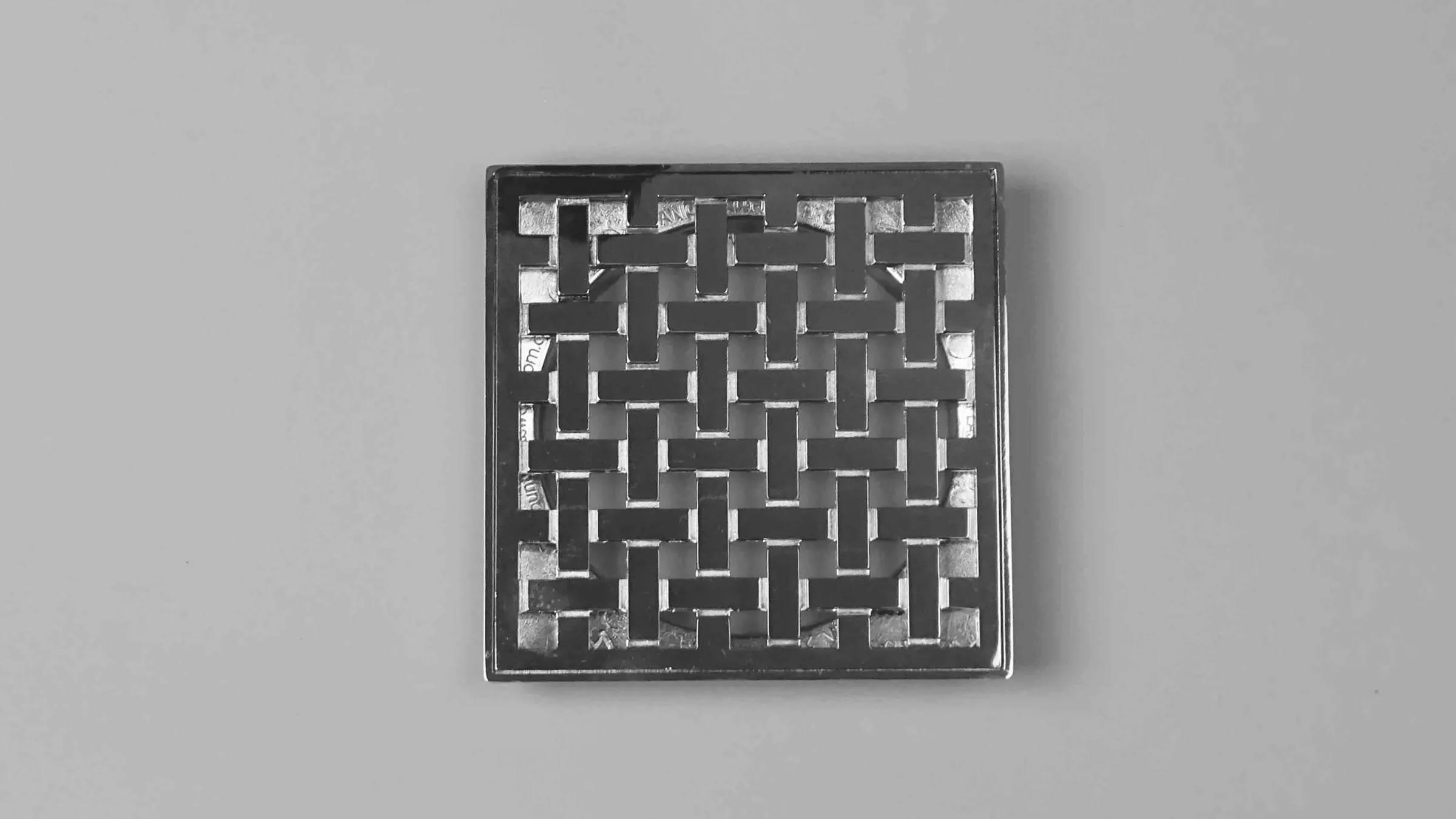 Woven Chrome Square Shower Drain Grate