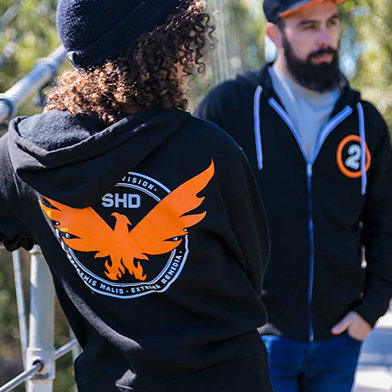Photo of two models wearing The Division 2 hoodies