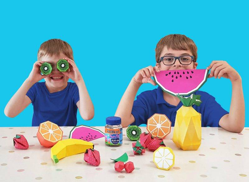 Kids With Fruit Models