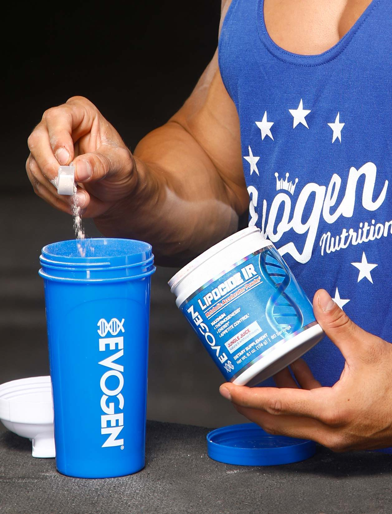 Athlete scooping Lipocide IR into a shaker at Metroflex Long Beach.