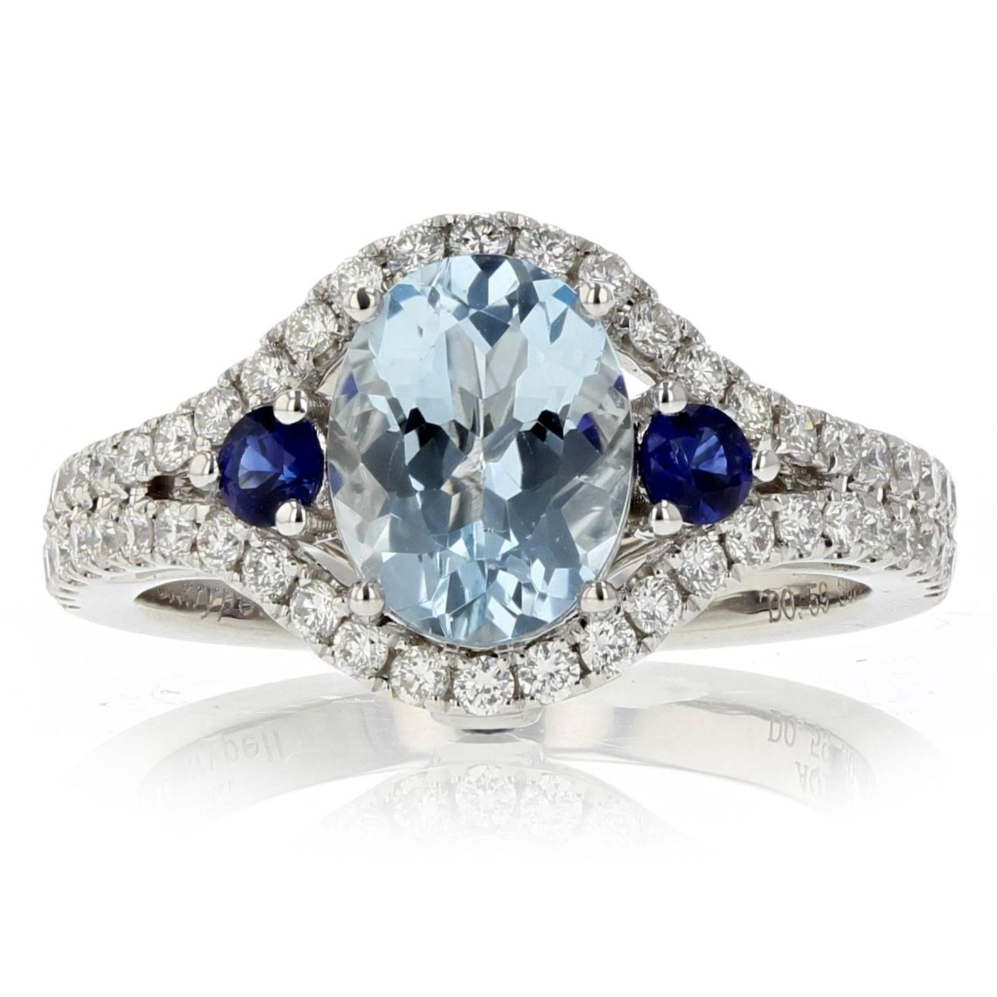 Aquamarine and Sapphire Diamond Ring
