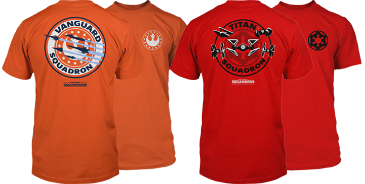 Two Star Wars Squadrons tees