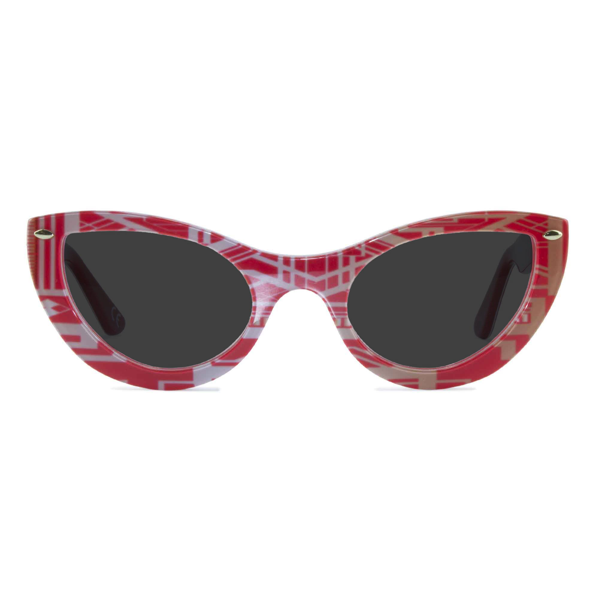 Joiuss gatsby red & gold cat eye sunglasses