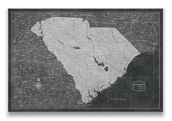 South Carolina Push pin travel map modern slate
