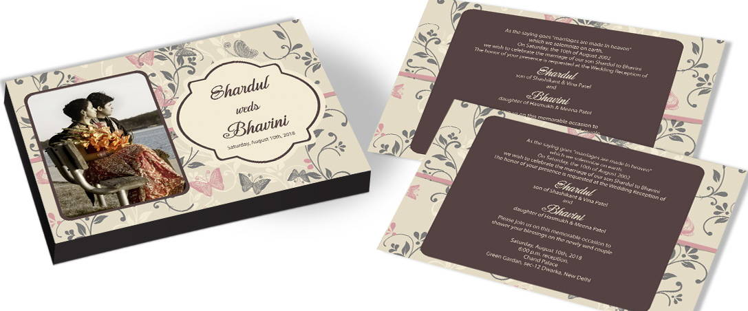 Photo Invitation - Butterfly theme Wedding
