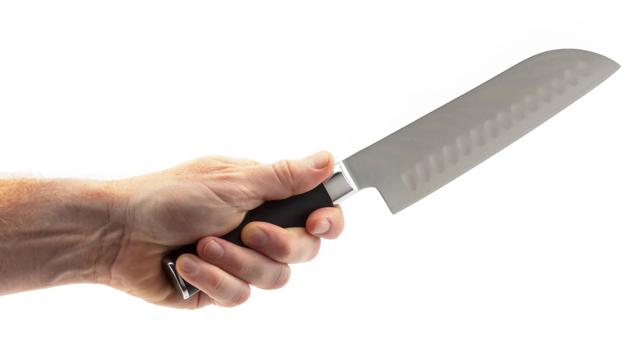 Santoku Knife Brigade Kitchen Black gas grill with fork and spatula, fork. santoku knife brigade kitchen