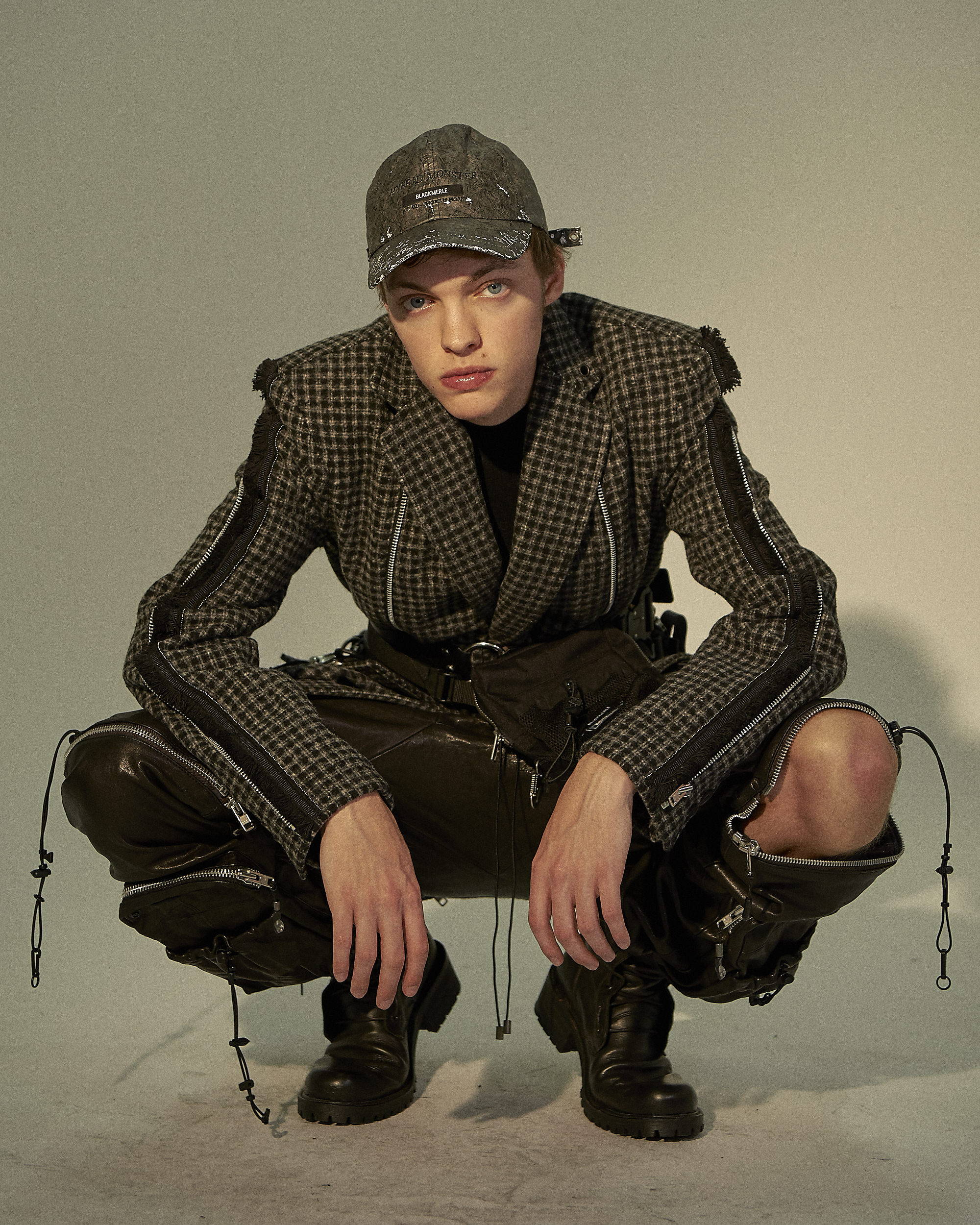Blackmerle FW18 Houndstooth Check Blazer Leather Utility Trouser Torched Brim Cap - Hlorenzo