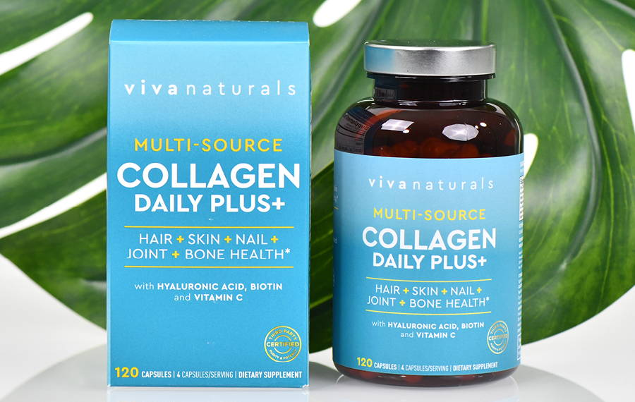 collagen capsules bottle & packaging with palm leaf behind