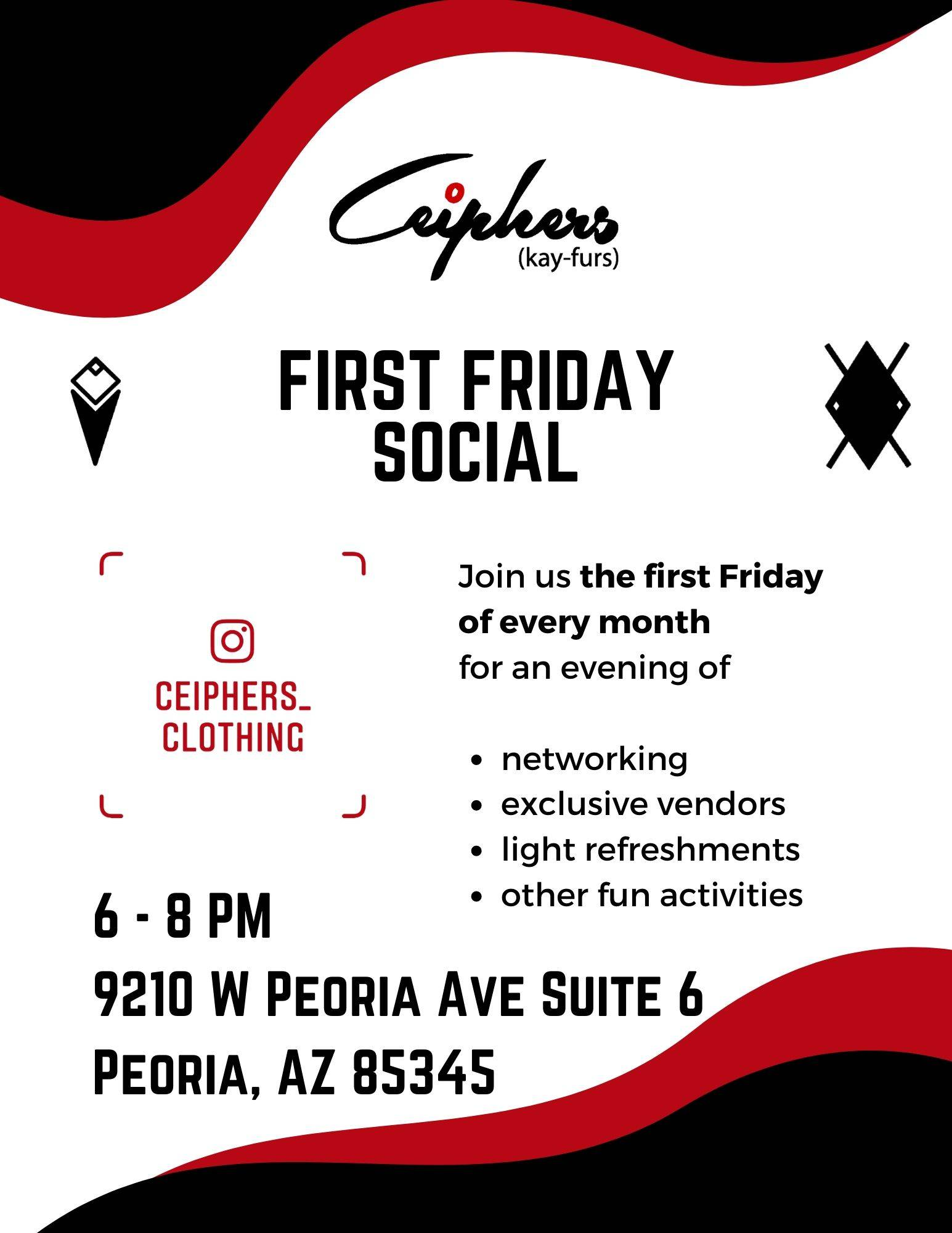 First Friday Social with Ceiphers Clothing