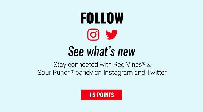 Follow Red Vines or Sour Punch on Instagram or Twitter - 15 Points