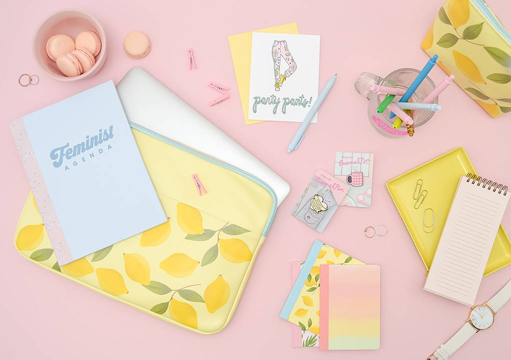 a cute flatlay of lemon products