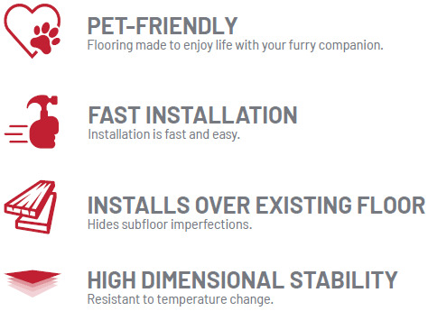 pet friendly, fast installation, installs over existing floors, high dimensional stability