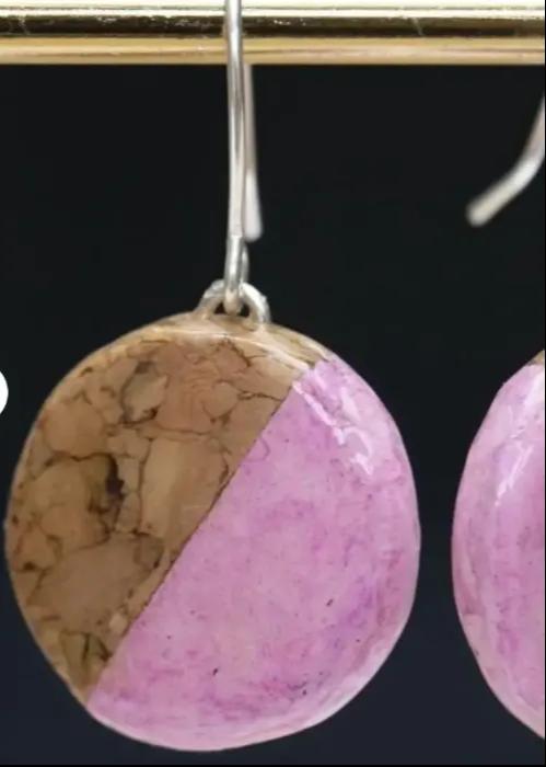 pink cork earing