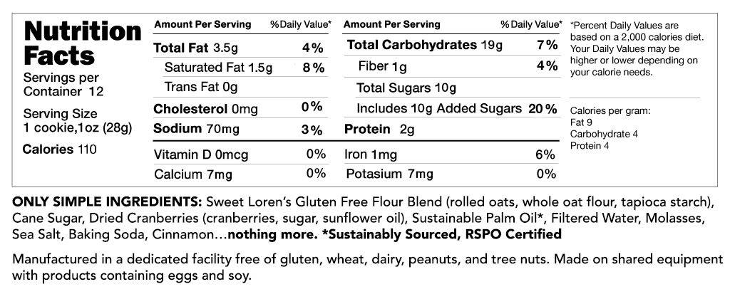 Gluten Free Oatmeal Cranberry Cookie Dough Nutrition Facts