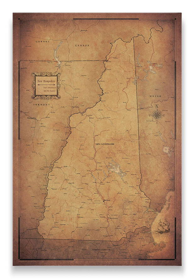 New Hampshire Push pin travel map goldena ged