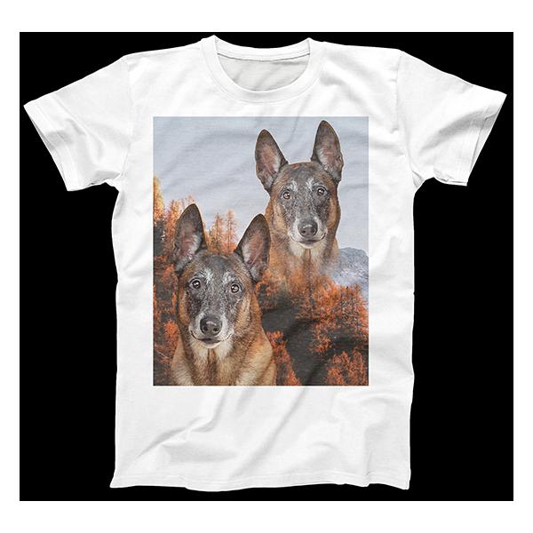 super imposed dog art on mens T-shirt