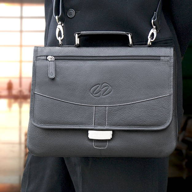 12.9 iPad Pro leather briefcase shown in black