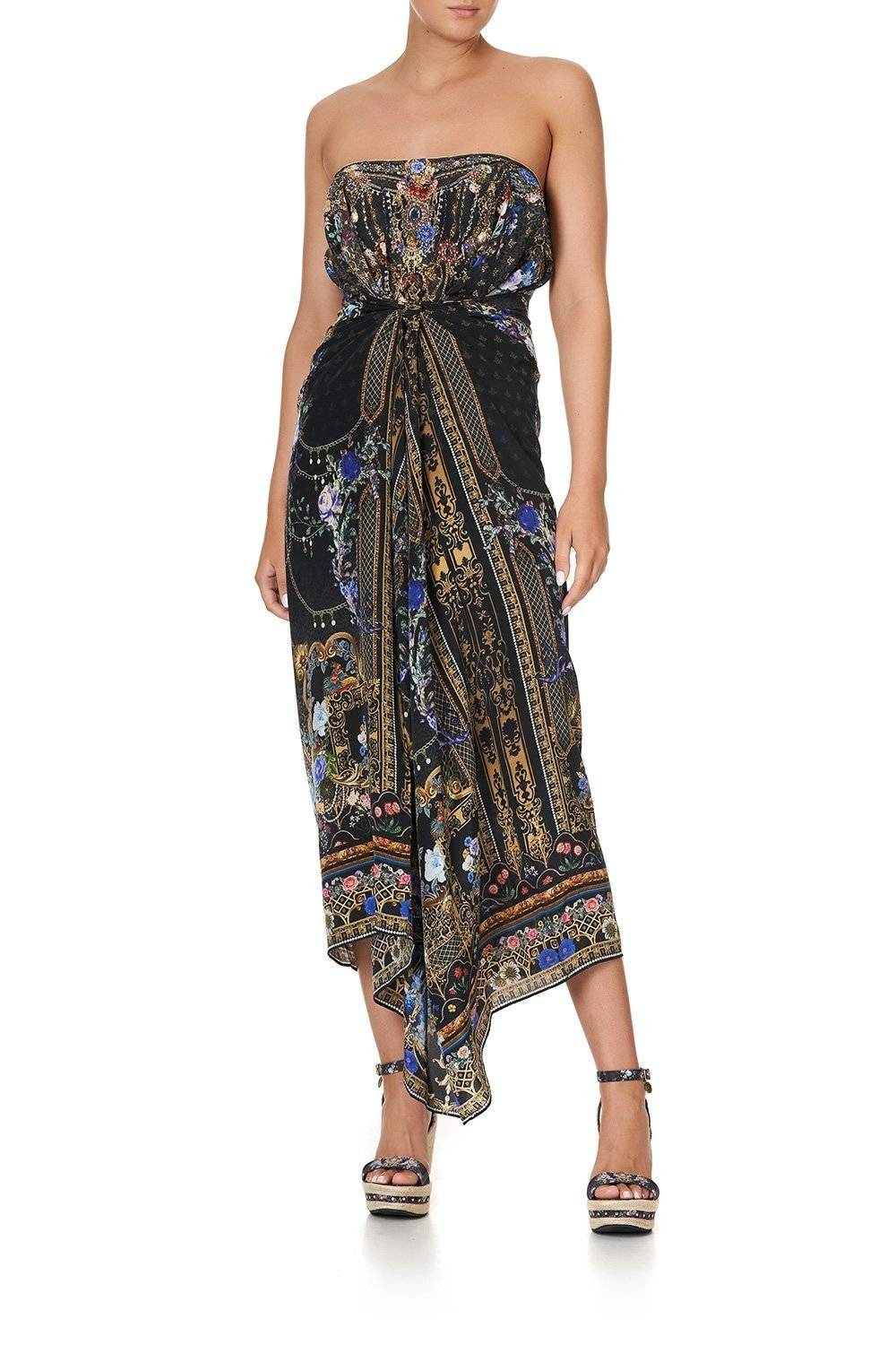 CAMILLA black round neck kaftan with blue flowers