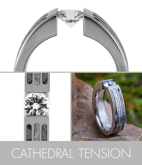 Cathedral Tension Set Engagement Ring