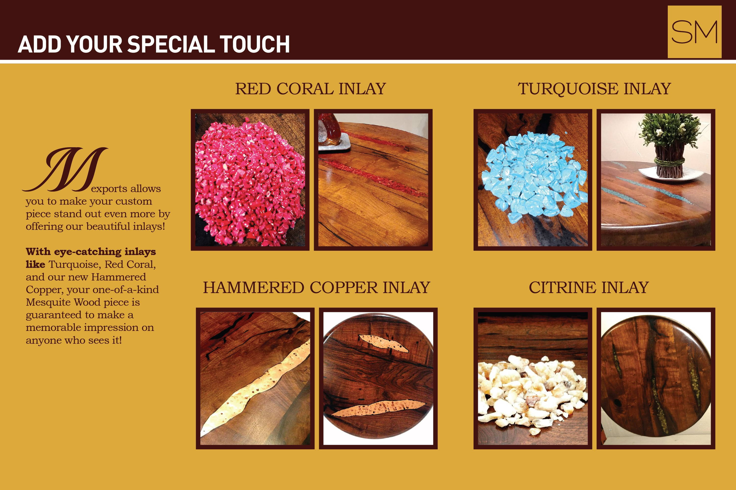 Inlay options including red coral inlay, turquoise inlay, hammered copper inlay, citrine inlay.