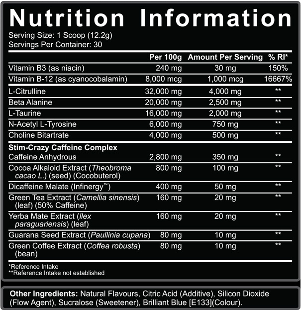 5150 Supercharged Nutrition Information