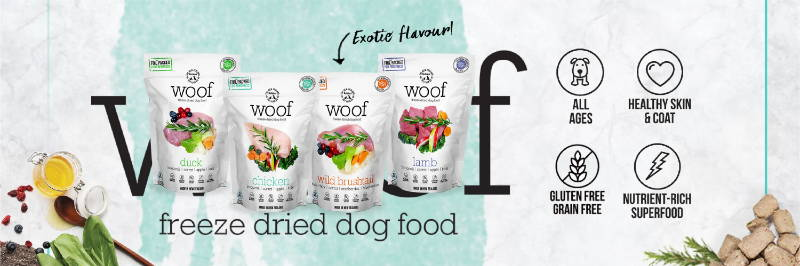 woof freeze-dried raw dog food and dog treats collection