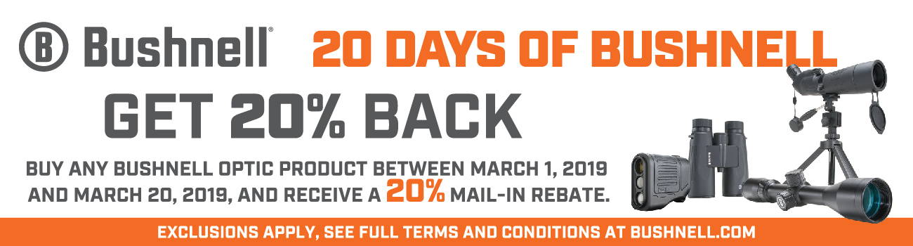 Bushnell's 2019 20 Days of Bushnell Mail-In-Rebate!