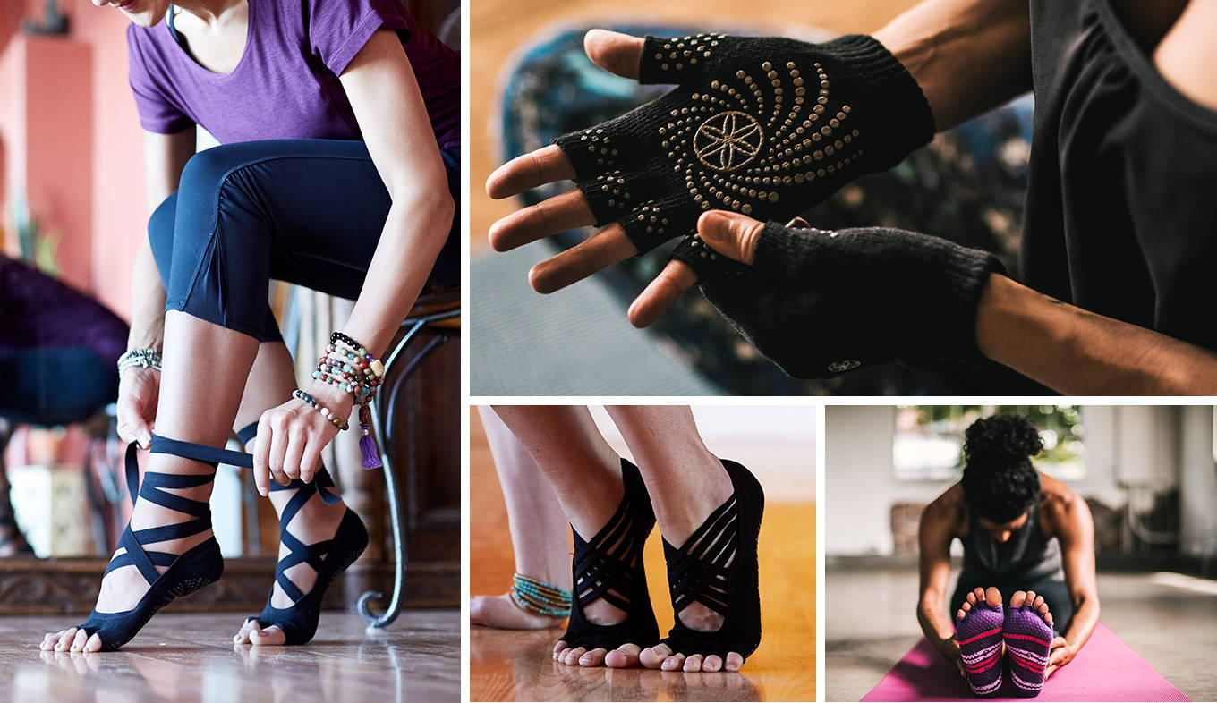 Yoga socks, gloves and headbands from Gaiam