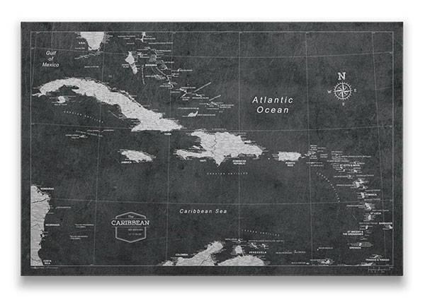 Caribbean Map Pin Board Caribbean Map Pin BoardModern Slate