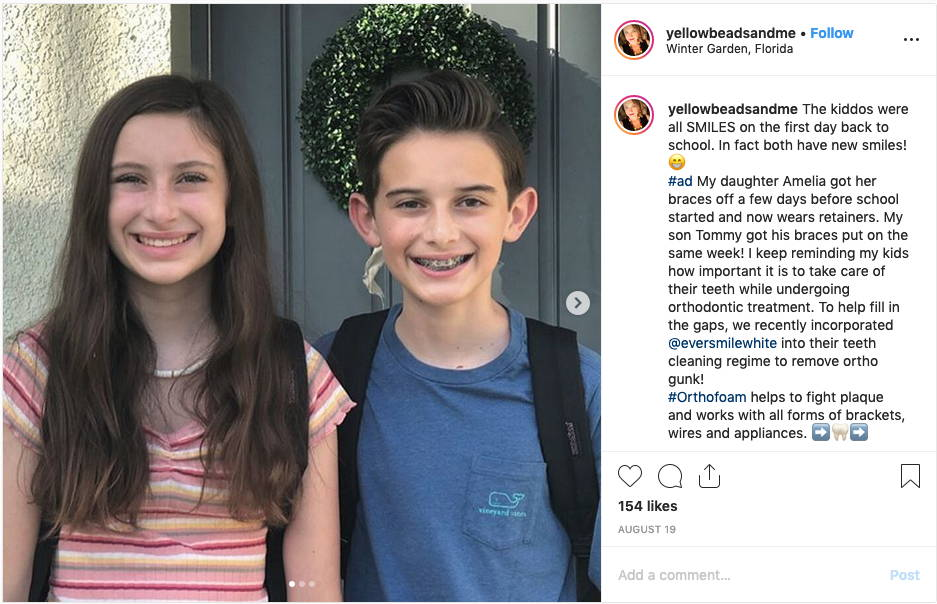 A screenshot of an instagram post featuring two tween kids, brother and sister, smiling in braces for their first day of school