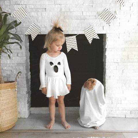 Girl ghost and her dog ghost