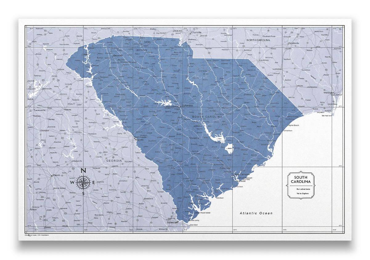 South Carolina Push pin travel map color splash