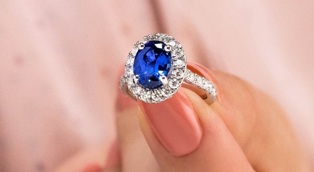 Selena engagement ring with accented diamonds great for active lifestyles