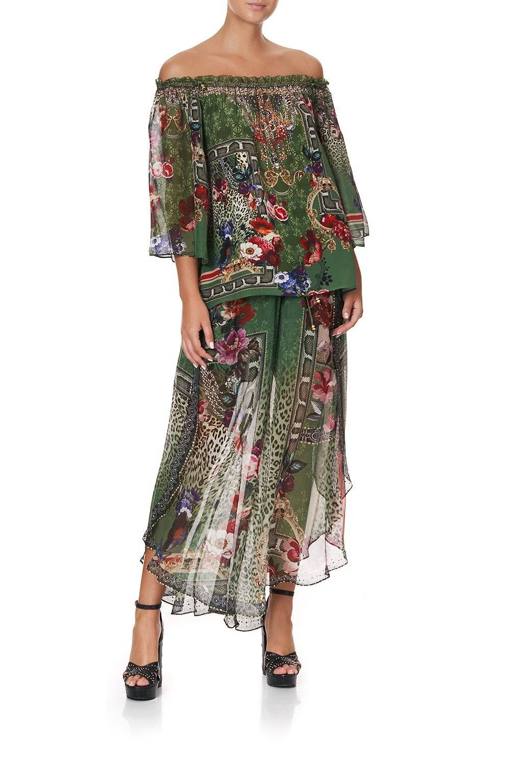 CAMILLA GREEN AND FLORAL OFF SHOULDER BLOUSE