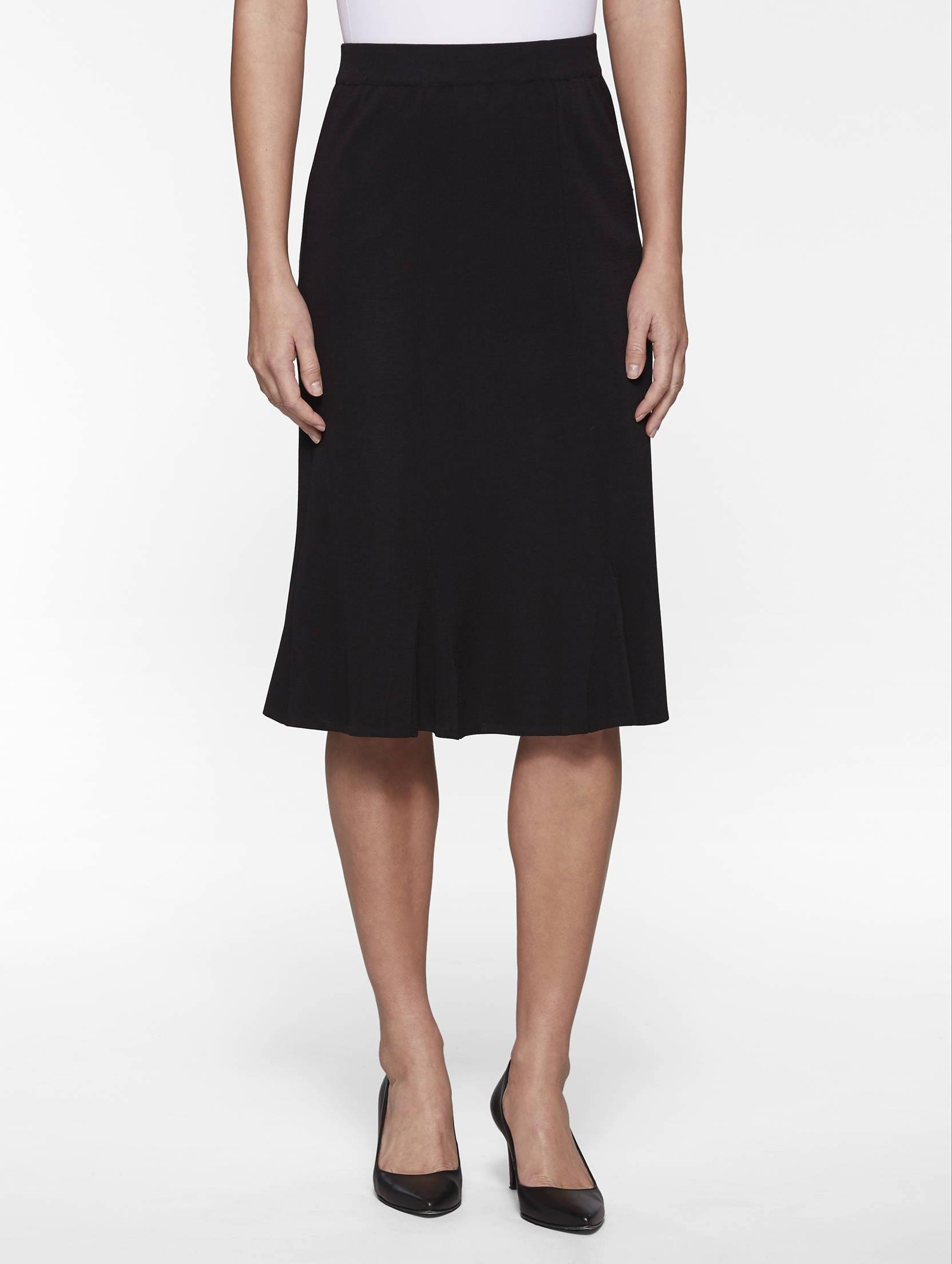 Gored Knit Skirt in Black