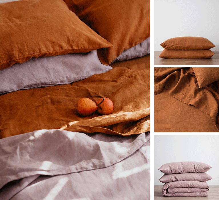 Collection of images featuring Cultiver pillowcases, fitted sheet and flat sheet in Cedar and a Duvet set in Dusk