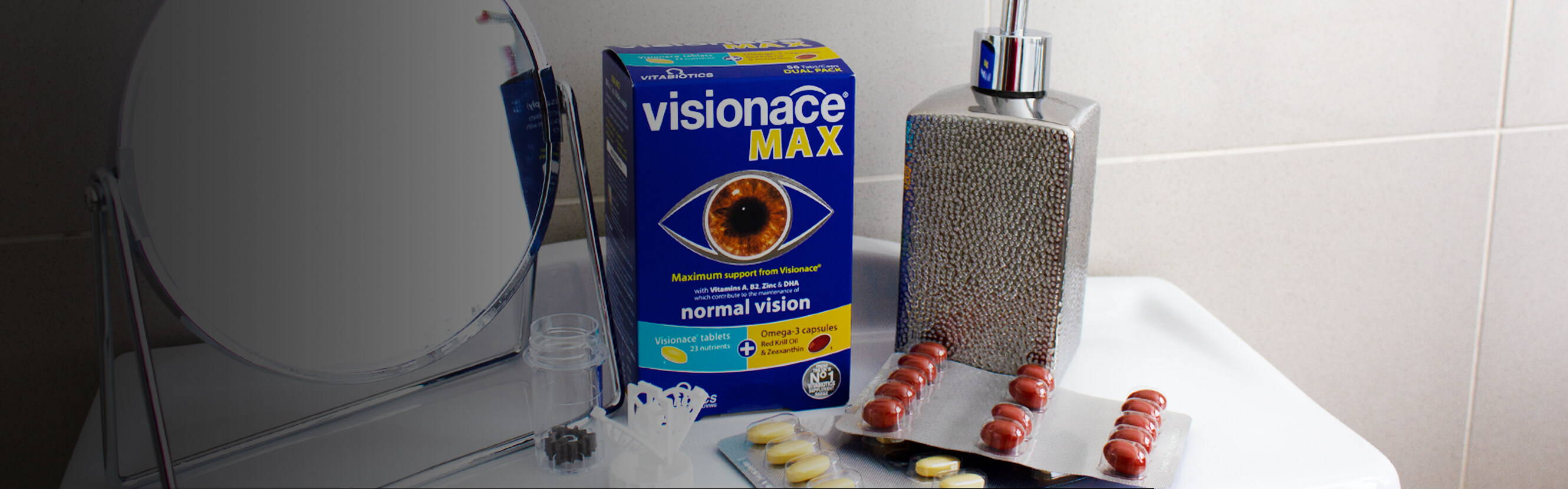When it comes to healthy vision, you need to keep an eye on your nutrition. And with Visionace Max, you can get our most comprehensive support – multinutrient tablets, high-quality Omega-3 capsules with additional Lutein Esters and Zeaxanthin.