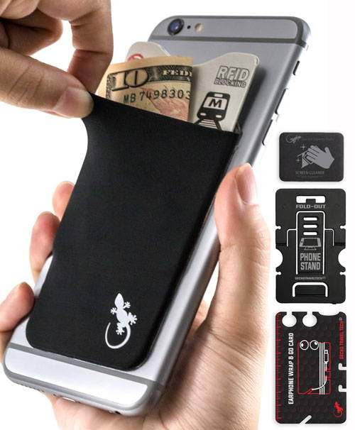 Phone Wallet By Gecko. Card Holder set with phone stand