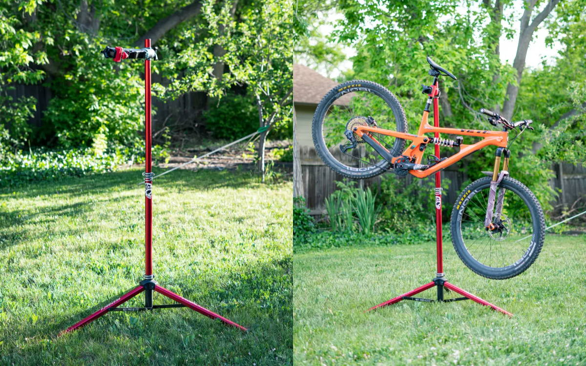 feedback sports repair stand pro-elite repair stand mtb mountain bike the lost co yeti sb150 orange