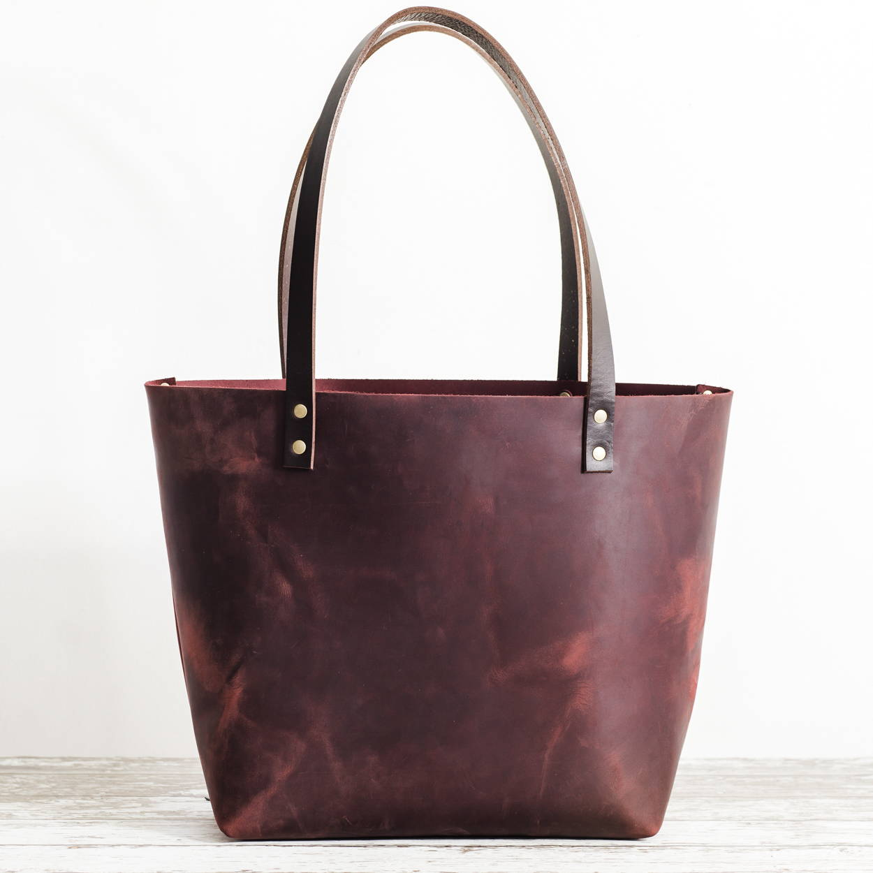 Merlot Zipper Tote with Dark Handles