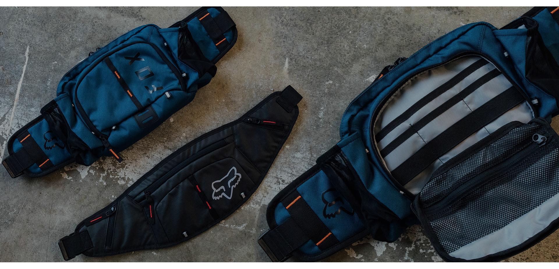 Fox Head hip packs for mountain biking on display