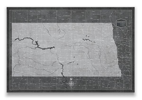 North Dakota Push pin travel map modern slate