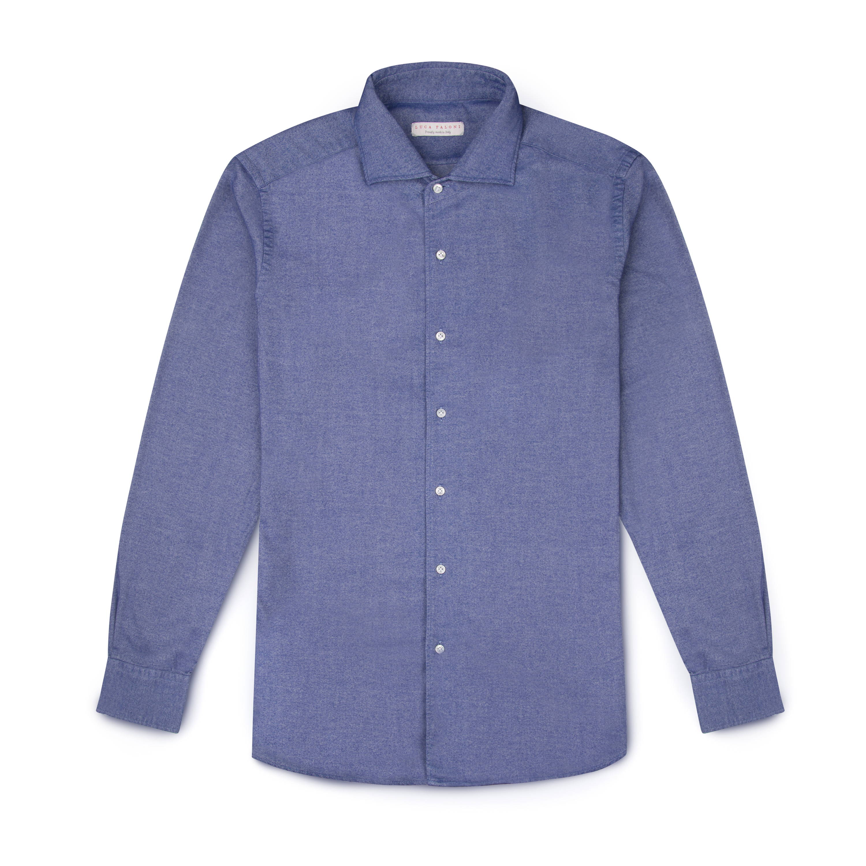 Luca Faloni  Dark Blue Brushed Cotton Shirt Made in Italy