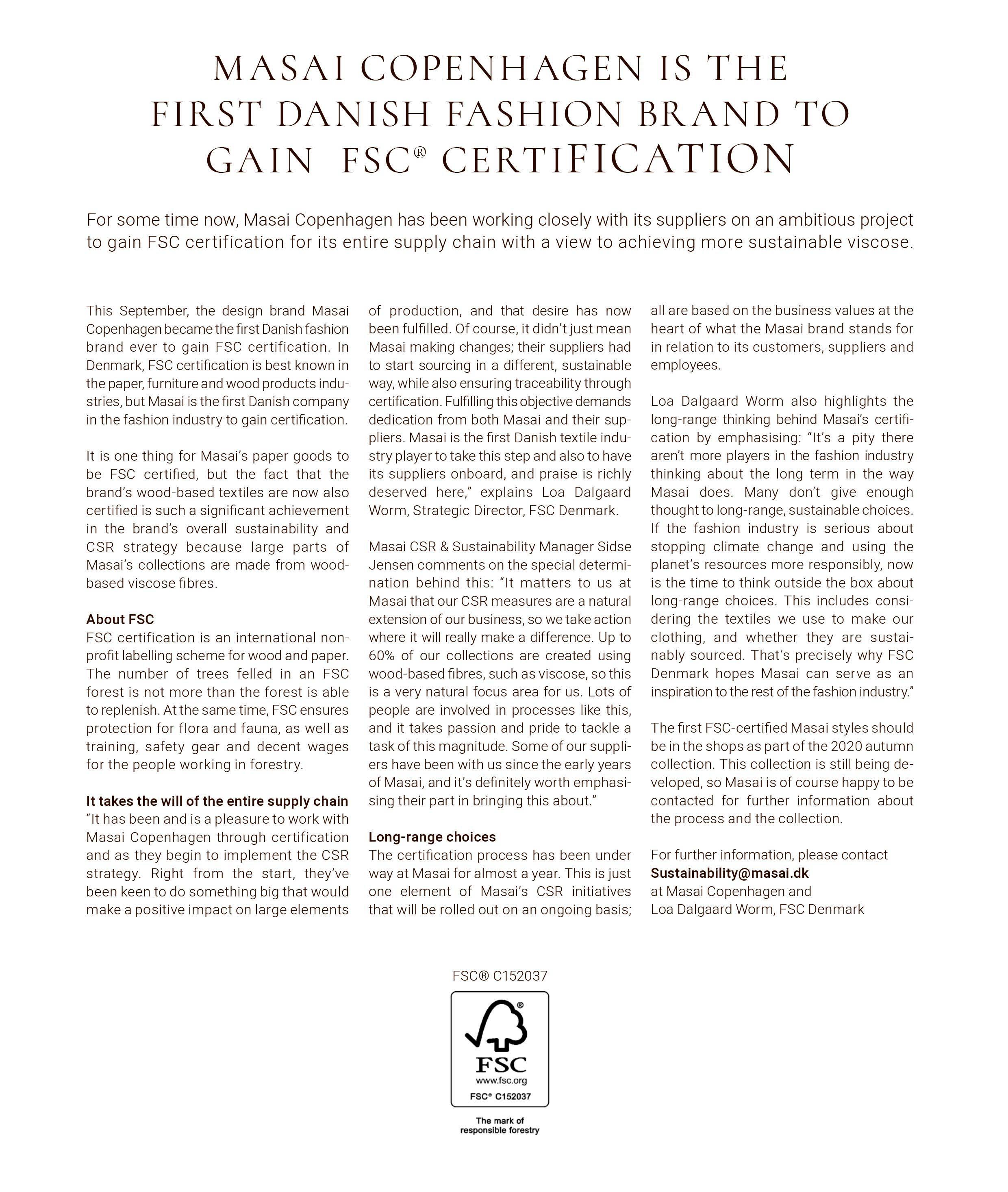 FSC and Masai Press Release