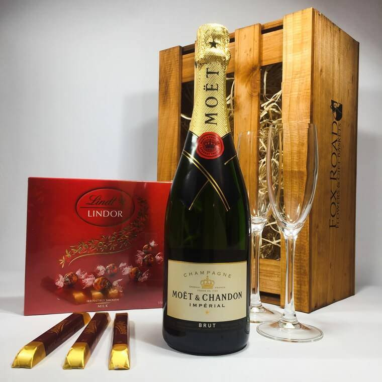 moet and lindt ball gift basket